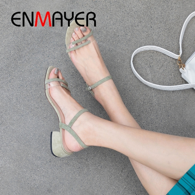 ENMAYER 2019 New Arrival  Summer  Open Toe Heels Med High Sandals  Kid Suede  Basic  Wedding  Women's Shoes Size 34-40 LY2063