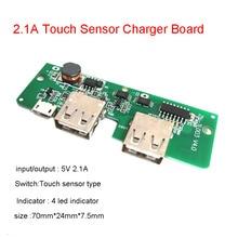 Power Bank ładowarka płytka drukowana DIY ładowanie PCB 18650 bateria litowa 5V 2A 2.1A moduł Boost Powerbank wyłącznik dotykowy