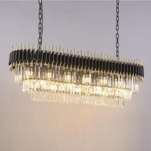 купить New modern crystal chandelier luxury black for living room dining room rectangular LED decorative lights по цене 40722.63 рублей