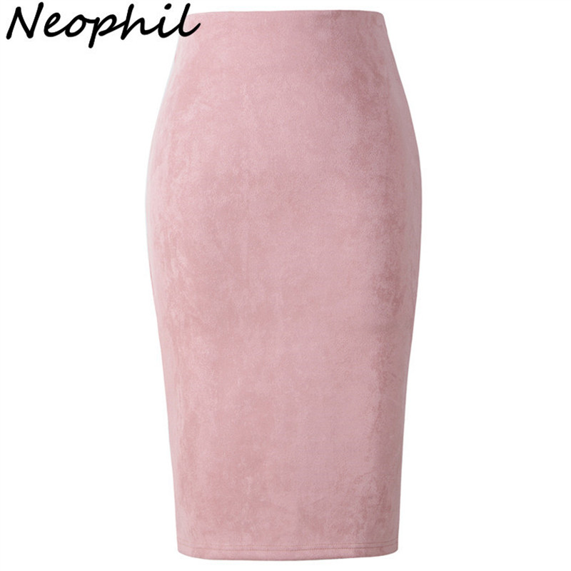 Neophil Summer Gray Pink Women Suede Midi Pencil Skirts Causal High Waist Sexy Stretch Ladies Office Work Wear Saia S1009