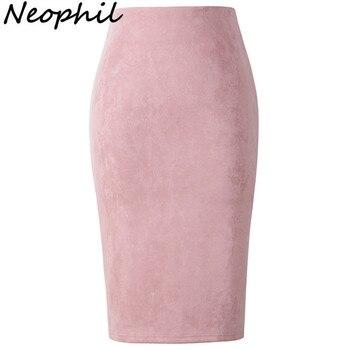 Neophil 2018 Summer Gray Pink Women Suede Midi Pencil Skirts Causal High Waist Sexy Stretch Ladies Office Work Wear Saia S1009