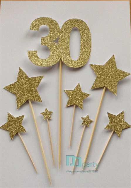Custom Number Gold 30th Birthday Cake Toppers Glitter 30 Star