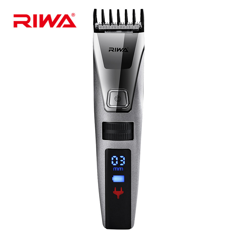 Riwa Professional Rechargeable Hair Clipper Electric IPX5 Waterproof LCD Display Hair Cutting Adjustable Hair Trimmer riwa professional hair trimmer with wireless charging cradle rechargeable hair clipper re 5801