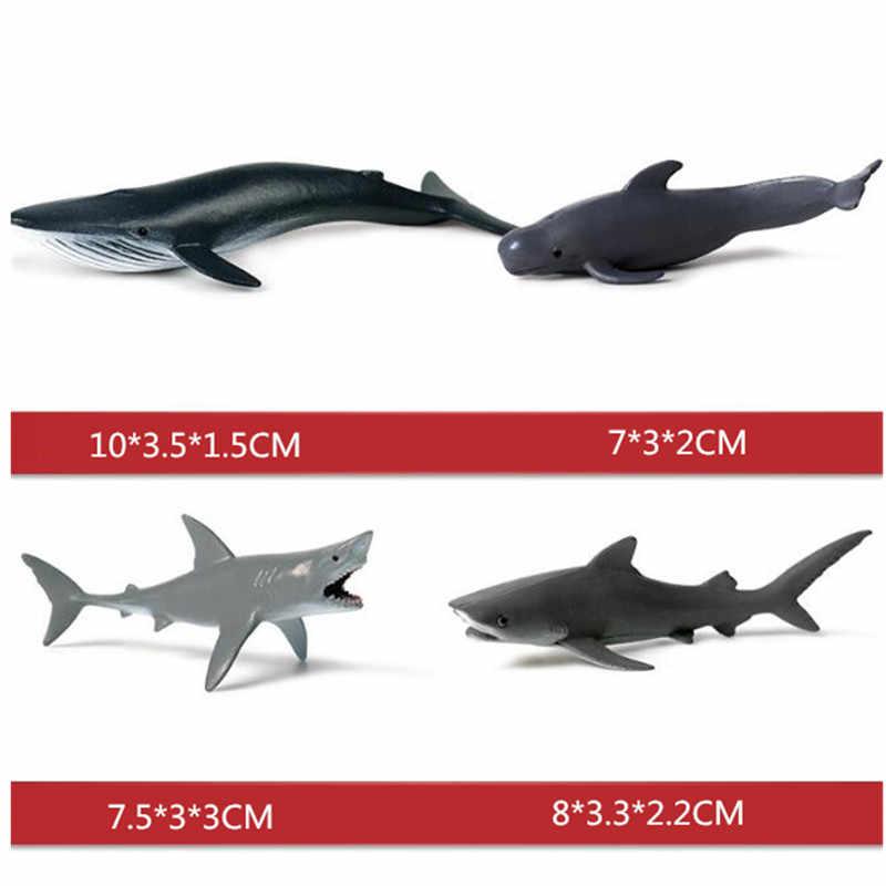 12/6/4 pçs plástico macio tubarões modelo conjunto mar vida tubarão baleia marinha vida figura brinquedos para crianças presentes