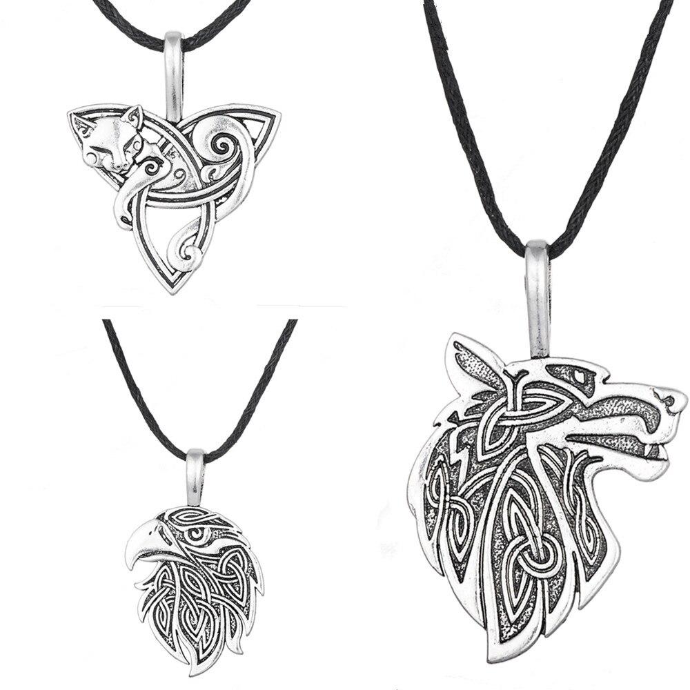 Dawapara Wolf Pendant Viking Jewelry Fox Triquetra Fenrir