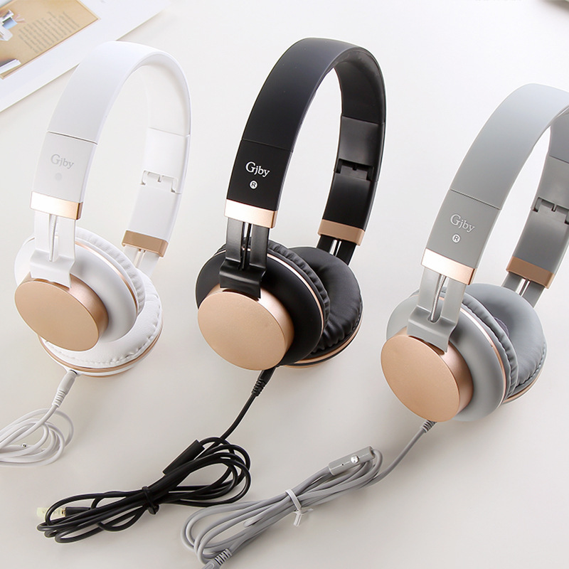 Luxury Headband Wired headphones with Mic Portable Foldable On-Ear Headset with Microphone for Phones xiaomi PC MP3 Girls