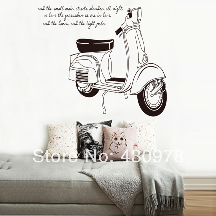 QZ1029 Free Shipping 1Pcs Vespa motorcycle Roman holiday <font><b>Elegant</b></font> Removable PVC Wall Stickers <font><b>Elegant</b></font> Fancy <font><b>Home</b></font> <font><b>Decoration</b></font>