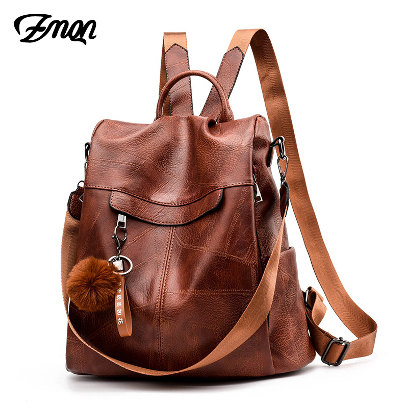 Zmqn Backpack Women Shoulder School Bags For Teenage Girls Vintage Leather Anti Theft Backpack Mochila Mujer Back Pack Lady C106