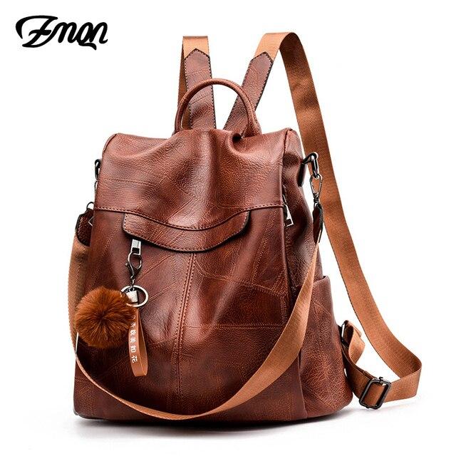 ZMQN Backpack Women Shoulder School Bags for Teenage Girls Vintage Leather Anti Theft Backpack Mochila Mujer Back Pack Lady C106