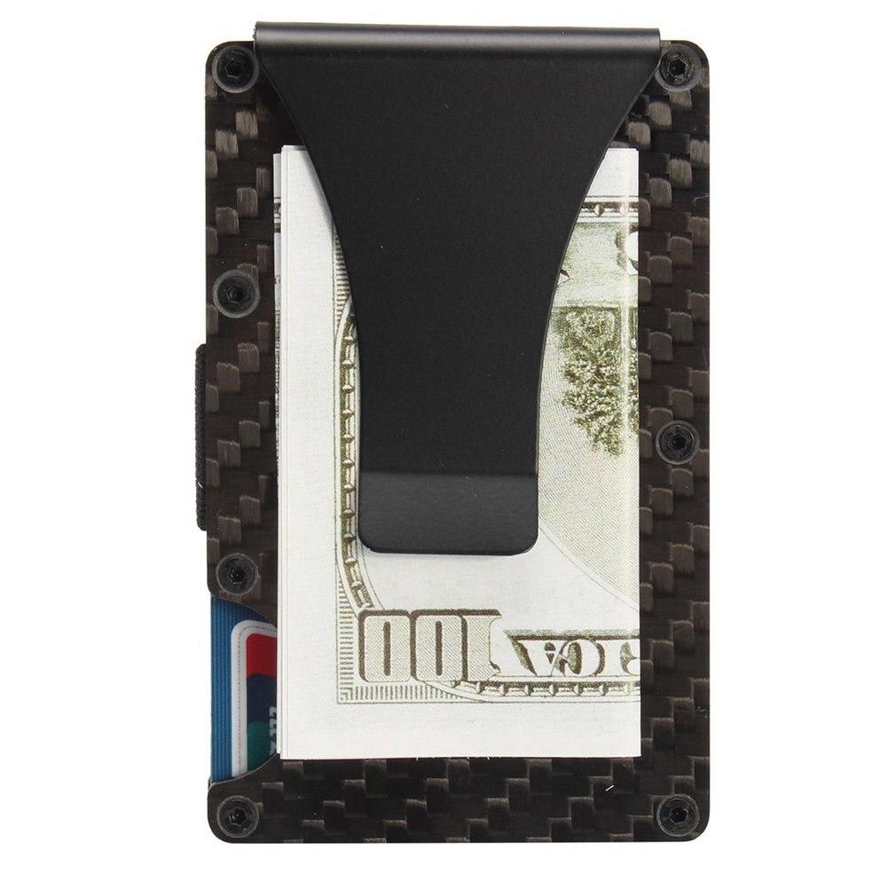 2019 nuevos hombres tarjeta titular Slim de fibra de carbono de tarjeta de crédito titular cartera Metal contra la función de escaneo retener tarjeta monedas en efectivo