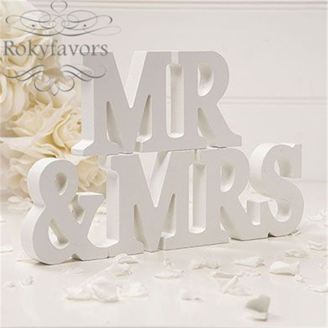 FREE SHIPPING 3pcs=1set White Wooden Mr & Mrs Letters Wedding ...