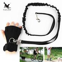 TAILUP Pet Hands Free Leash Dog Leash Set Including Gloves Two Way Elastic Belt Explosion Proof