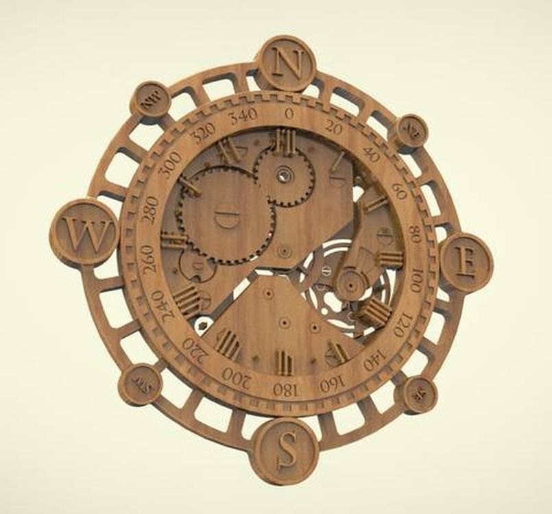 3d model relief  for cnc in STL file format Clock_31 panno hunting 2 for cnc in stl file format 3d model relief