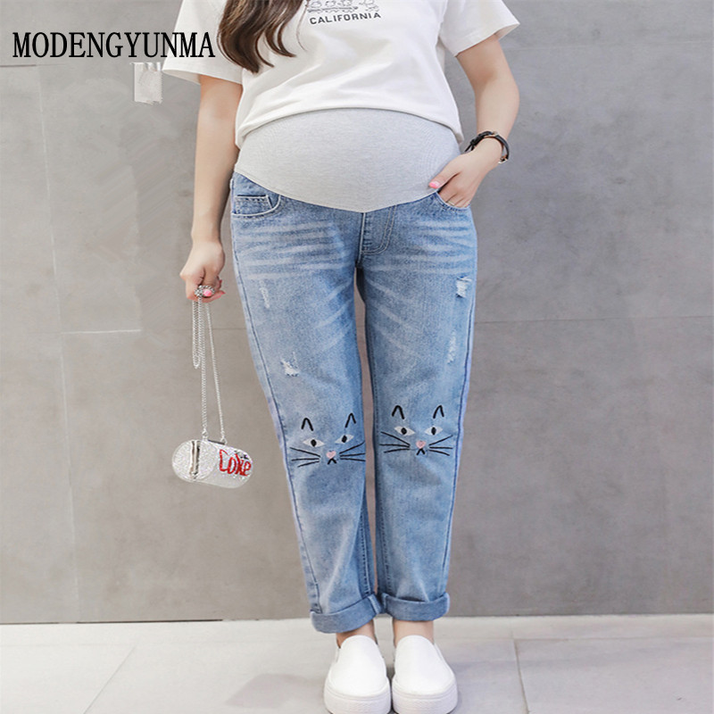 все цены на MODENGYUNMA Maternity Jeans Pregnant Woman Loose Pencil Pants Maternity Elastic Waist Denim Trousers Pregnancy Clothes 2018 NEW