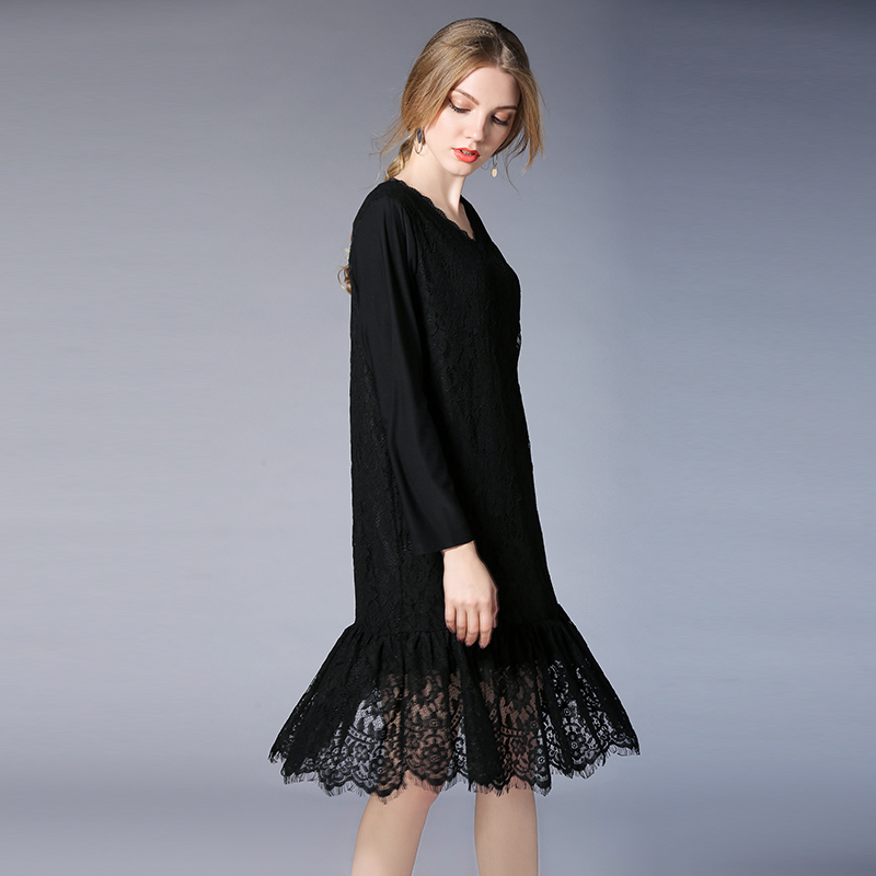 2019 new design women ruffles lace dresses spring autumn plus size women V neck hollow lace dress black/navy blue/wine red color