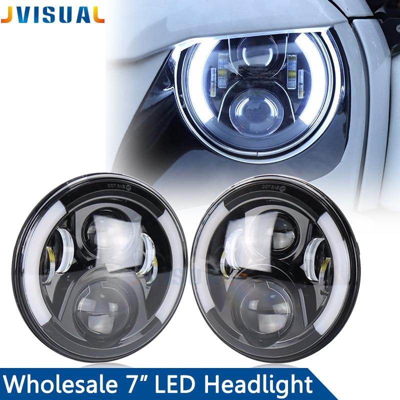 7inch LED Halo Headlights Kit 7 LED Headlight With Angle Eye For Jeep Wrangler JK TJ Hum ...