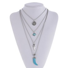 New Hot Sexy Multi Layer Chain Necklace Geometric Triangle Three Layered Chain Initial Necklace Woman Sale