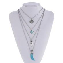 Nueva Sexy Hot Multi Capa Cadena Collar Triángulo Geométrico Inicial de Tres Capas de La Cadena Collar de Mujer Venta Boho Joyería Collares