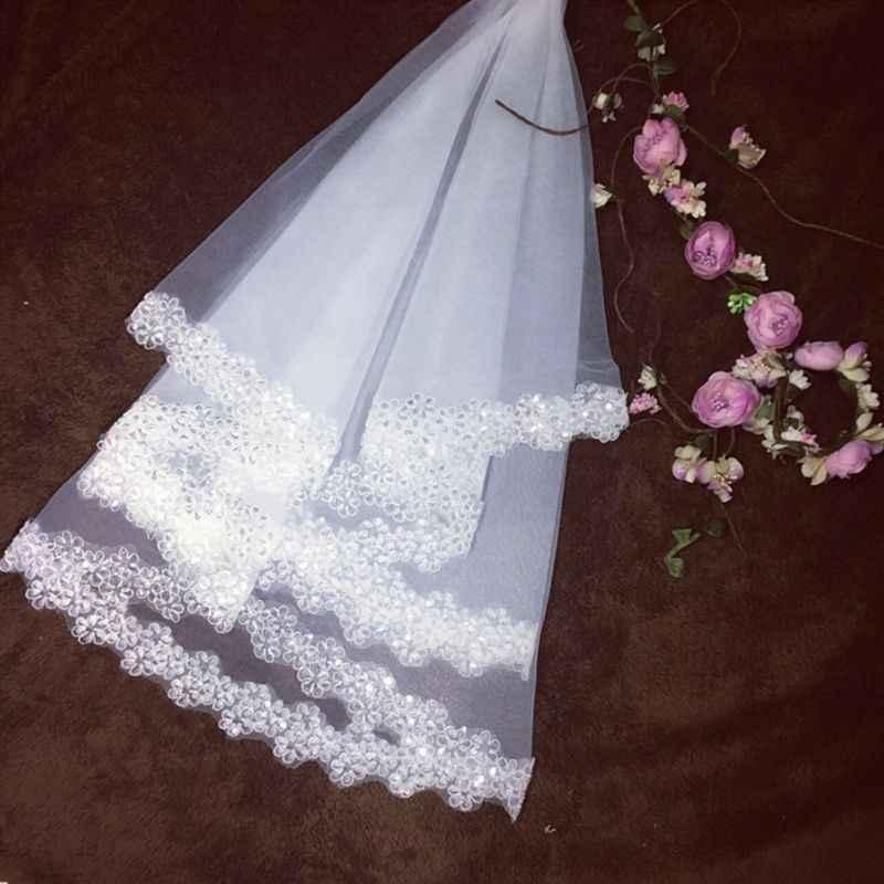 1.5M 1 שכבה כלה לבן ארוך טול החתונה גליטר פאייטים רקום פריחת שזיף קצה נישואים מוצק צבע לא מסרק