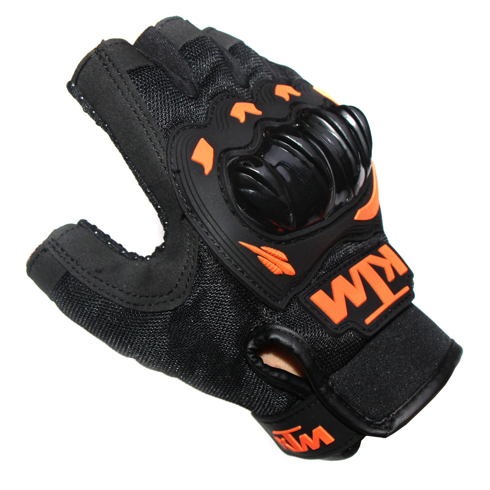 Motorcycle gloves half finger - Breathable Sweat Half Finger Motorcycle Gloves Motocross Luvas Guantes Orange Green Colors Protective Gears Glove For