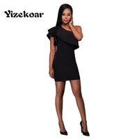 סלסולים בציר 2017 נשים חדשות סקסי אופנה שחור Yizekoar היפ חבילת כתף אחת מועדון מפלגה מיני בנות Vestidos OS5072