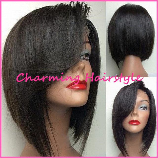 Modern Short Haircuts Best Quality Synthetic Lace Front Wig For Black Women African American Short Bob