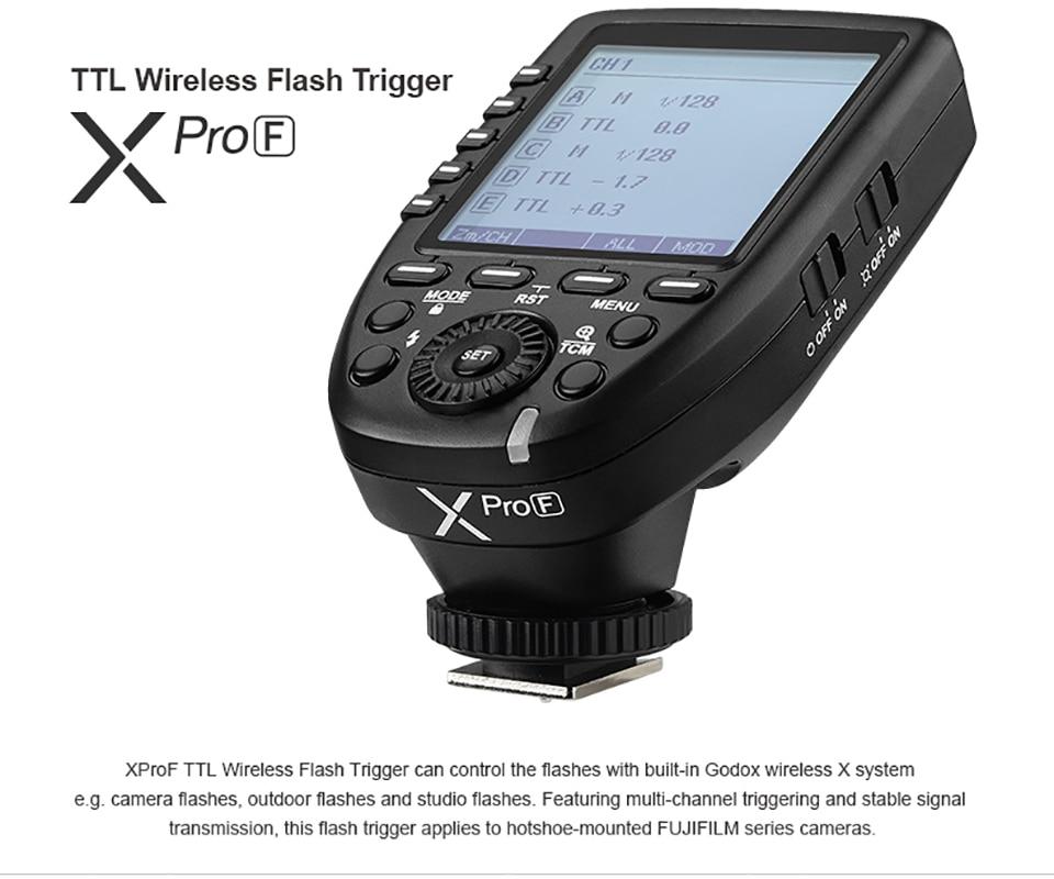 Godox Xpro-F TTL déclencheur Flash sans fil pour Fujifilm 1/8000 s HSS ttl-converti-fonction manuelle grand écran Design incliné