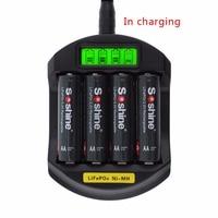 Soshine LCD Display LifePO4 NI MH 4 Slot Intelligent Battery Charger For 14500 14400 AA AAA