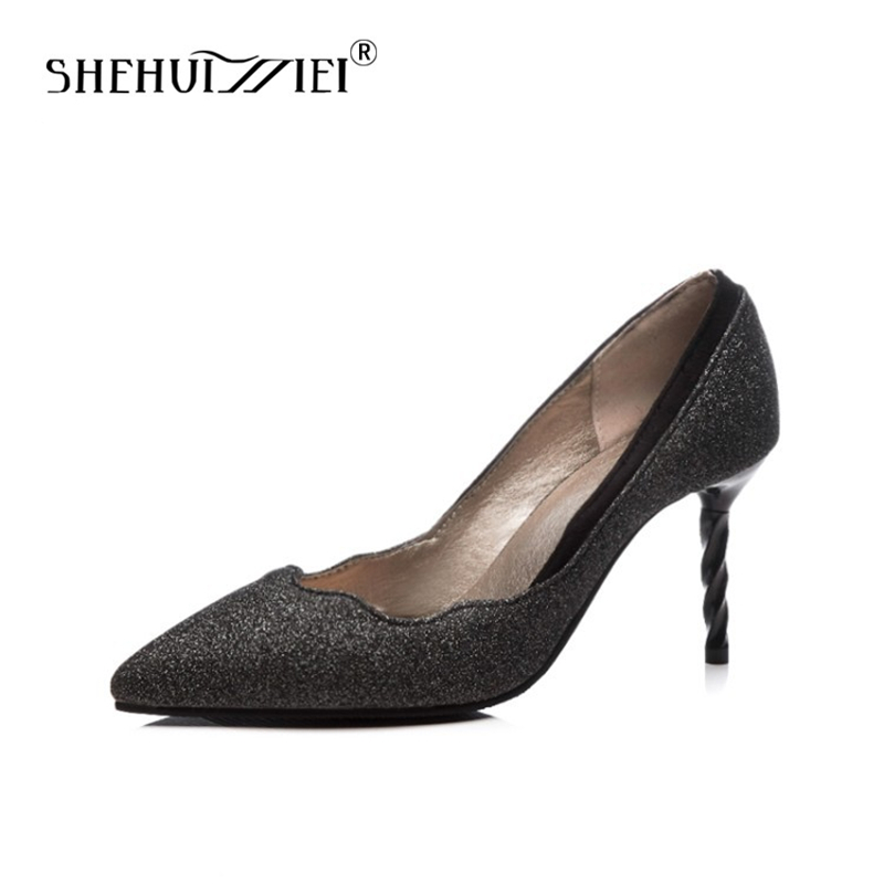 Shehuimei Women Pumps Genuine Leather Blings Pointed Toe Slip On Shoes Woman Thin High Heels Party Wedding Pumps Plus Size 34-48 стоимость