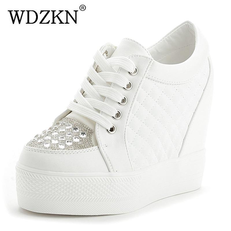 Abile Wdzkn Donne Di Modo Casual Scarpe Cuneo Della Piattaforma Scarpe Di Strass Dolce Tacchi Alti Nero Bianco Altezza Crescente Delle Donne Scarpe
