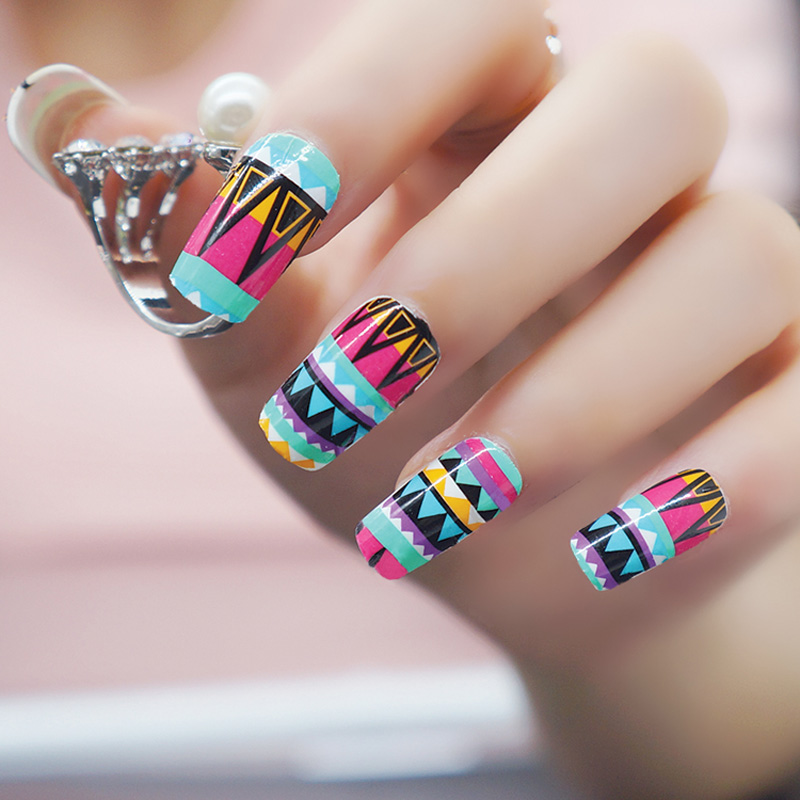 New 1 Sheet Colorful Nail Sticker French Manicure Foil Gel Nail ...