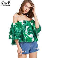Dotfashion Women Blouses 2017 Green Palm Leaf Print Sexy Off Shoulder Beach Summer Tops Fashion Casual Cute Boho Bardot Blouse