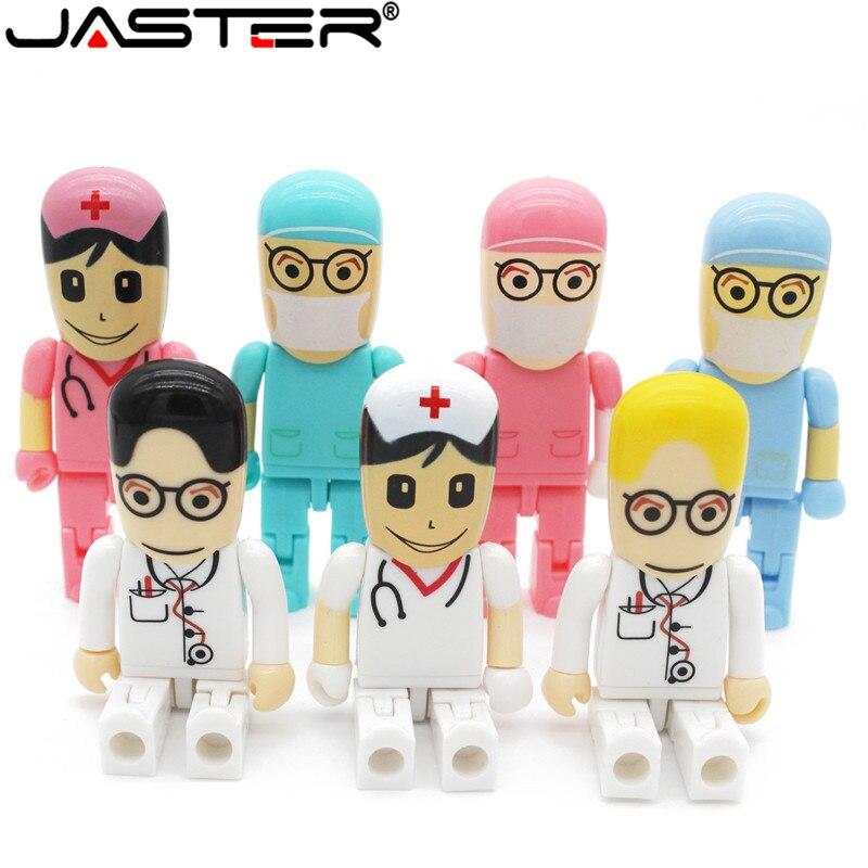 JASTER Hot Fashion Creative Cartoon Doctor Nurse Seriescapacity USB Flash Drive 2.0 4GB/8GB/16GB/32GB/64GB Memory Stick