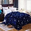 Manta de colcha de estrellas brillantes 200x230 cm manta de franela súper suave de alta densidad para el sofá/cama/Fundas portátiles de coche