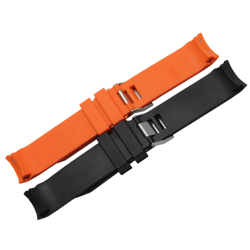 Image 3 - MERJUST 20mm 22mm Orange Black Rubber Strap Waterproof Diving Curved End Watchband for Omega Seamaster Planet Ocean Speedmaster-in Watchbands from Watches