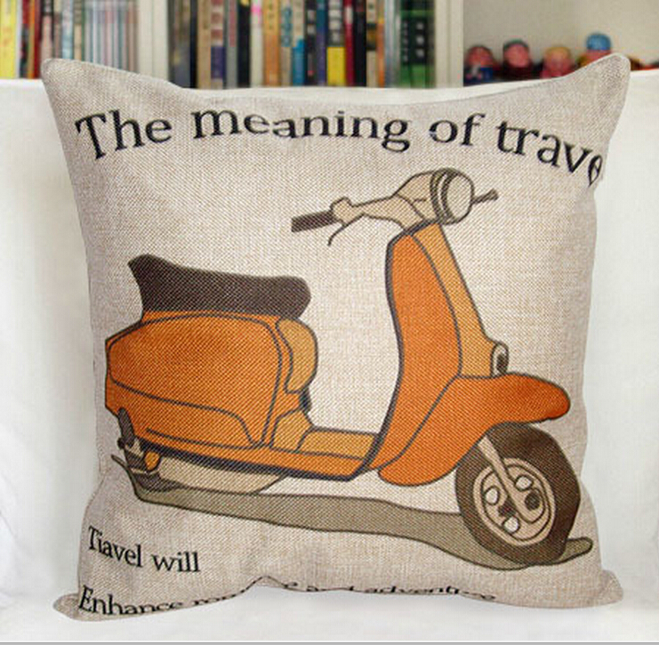 New Motorcycle Pattern 45cm * 45cm Square Home Decorative PIllows Cover Sofa Cushion Cover Baby Cojines