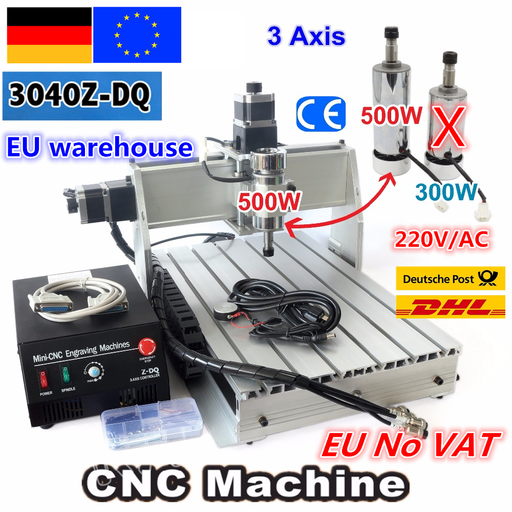 【DE NO VAT】 3 ejes 3040 Z-DQ CNC 500W husillo CNC enrutador grabado fresadora corte perforadora husillo 220 V/110 V
