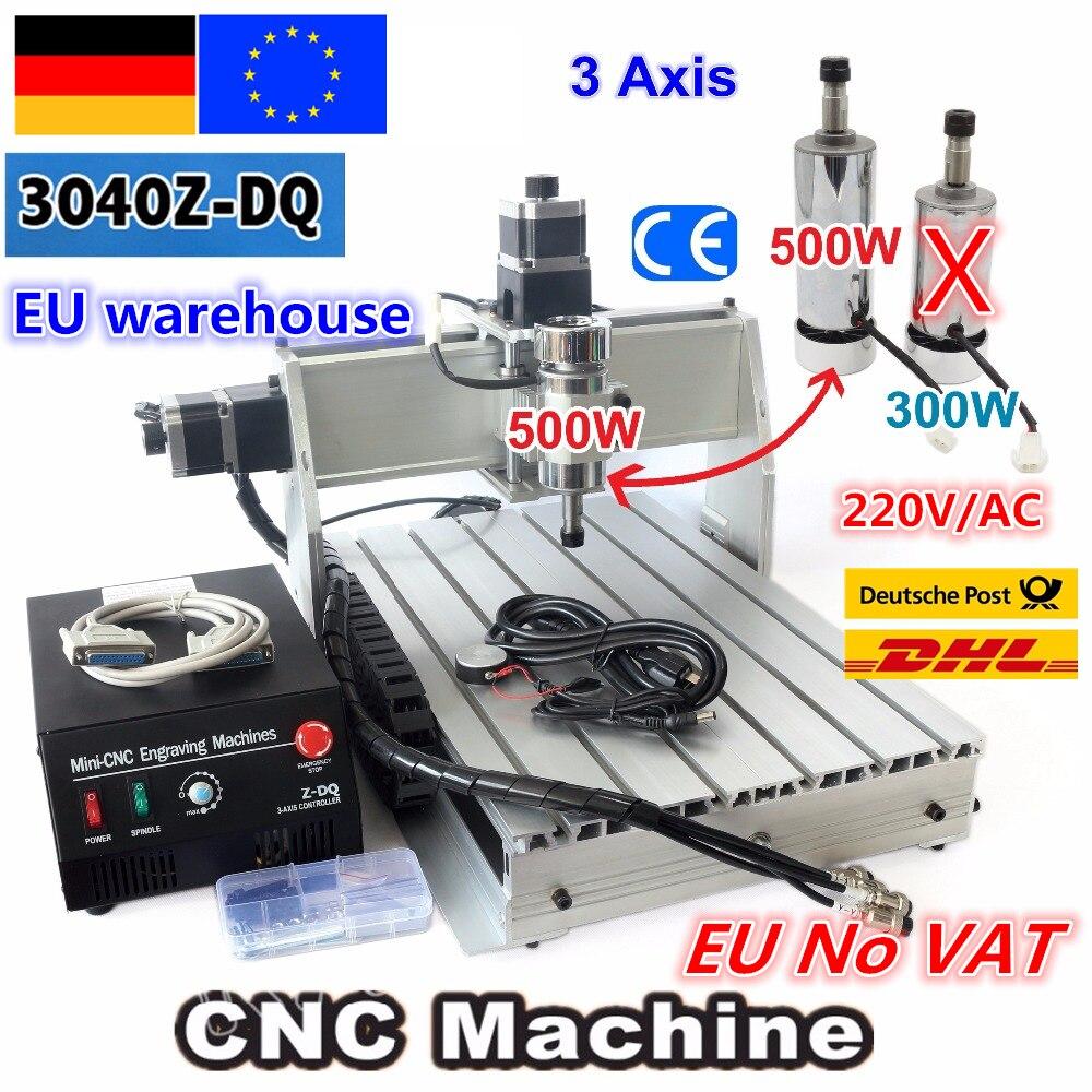 Livre entre a UE e CUBA 3 Eixo 3040Z-DQ 500 W DC Spindle CNC ROUTER ENGRAVER/GRAVURA de Corte de Fresagem Máquina de PERFURAÇÃO Ballscrew 220 V/110 V