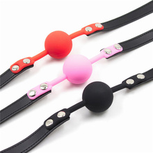 Retail 1 Piece Adult Games 3 Colors Rubber&Pu Leather Erotic Toys Silicone Ball Gag Open Mouth Gag Sex Toy Slave Gag For Couples