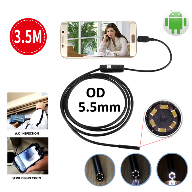 Endoscope Android USB Camera 3.5M 5.5mm 6LED Pipe Inspection Android Phone Borescope Mini Camera USB Snake Waterproof Cable Cam 2m 7mm 6led usb endoscope ip67 waterproof usb android endoscope borescope inspection snake tube mini micro endoscope camera