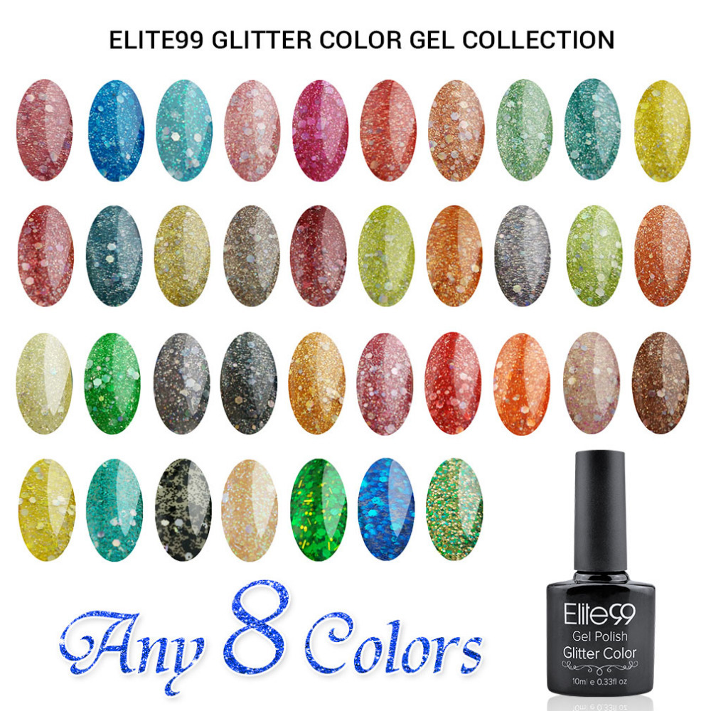 Elite99 Diamond Glitter Gel Nails UV LED Soak Off Nail Varnish ...