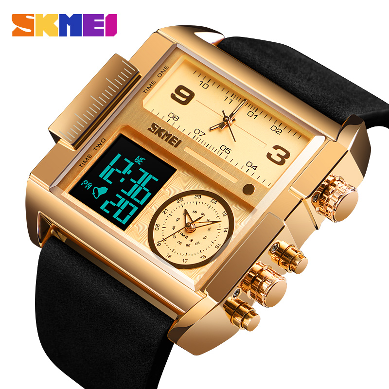 Men's Watch Waterproof Leather Strap Quartz Watches Men Luxury Brand Square Wristwatch Casual Clock Man Reloj Hombre SKMEI