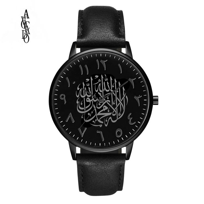 Aguacate 2019 relojes para hombre negro Reloj árabe correa de cuero Reloj arabe negro
