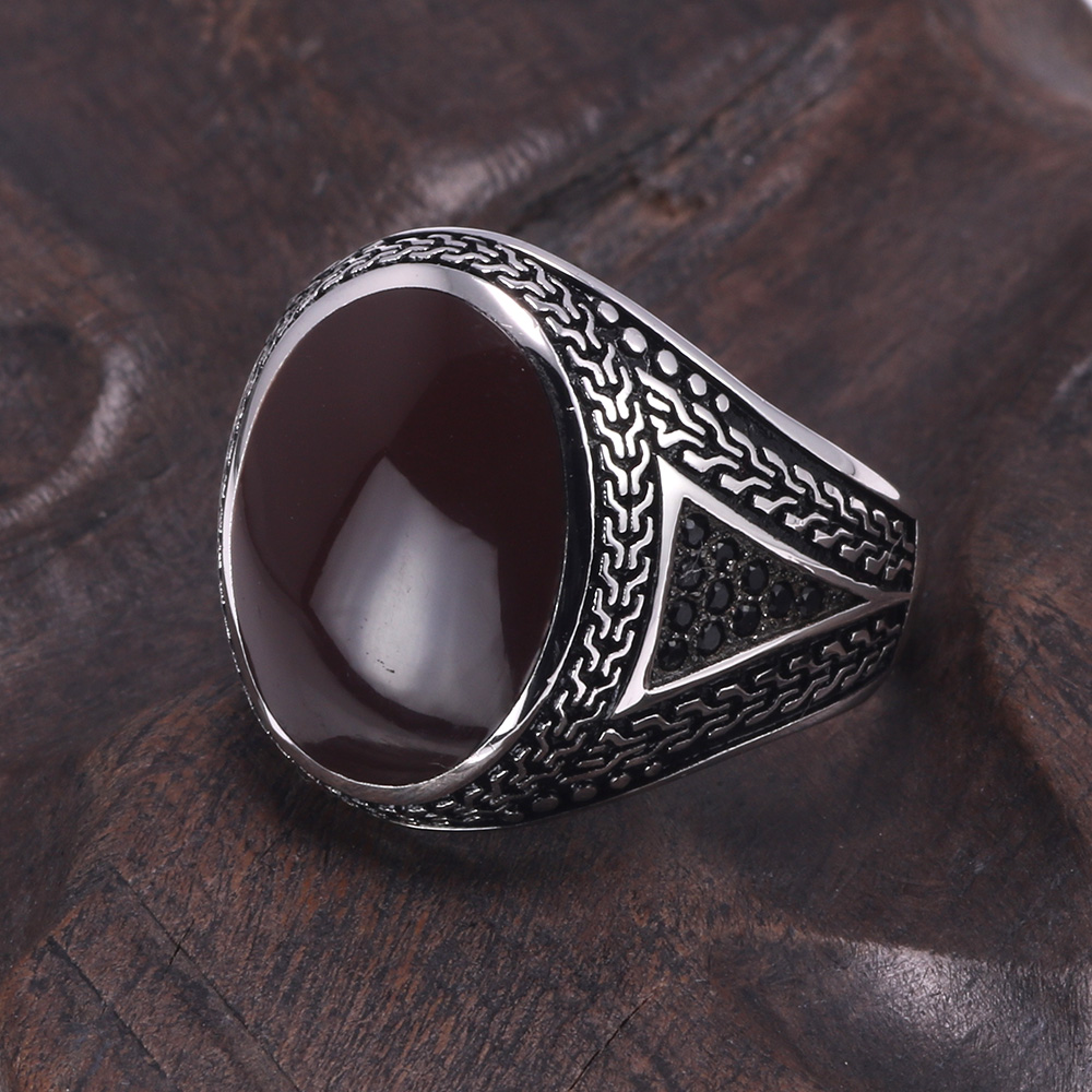 US $17 94 10% OFF|Real Pure Mens Rings Silver s925 Retro Vintage Big  Turkish Rings For Men With Color Stones Turkish Jewellery Anel Masculino-in