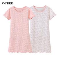 Reine Farbe Mädchen Nachtwäsche Dot Nachthemden Für Mädchen Sommer Kinder Pyjamas 2-10 T Teenager Nachthemd Baby Nacht Kleid