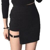 2017 donna primavera estate coreano stile sottile stretta gonna irregolare nero punk mini gonne donna casual circle abbigliamento