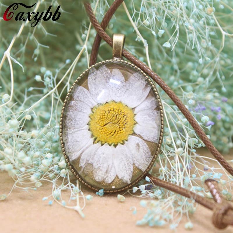 Gaxybb 2016 Handmade Retro Bronze Glass Daisy Charm Necklaces