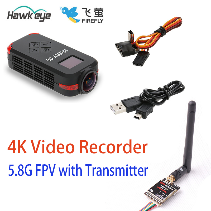 5 8G FPV Video transmitter with Hawkeye Firefly Q6 4K HD FPV Aerial Camcorder 120 Wide