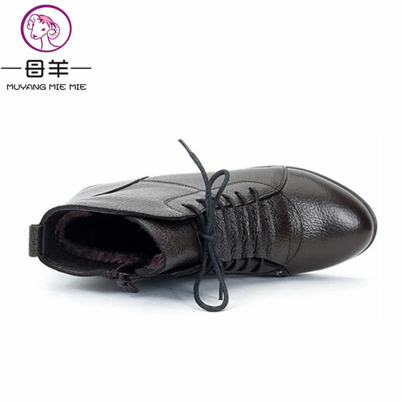 MUYANG MIE MIE Cộng Với Kích Thước (35-43) Mùa Đông Phụ Nữ Giày Người Phụ Nữ Chính Hãng Da Mắt Cá Chân Phẳng Khởi Động Khởi Động Tuyết Phụ Nữ Khởi Động