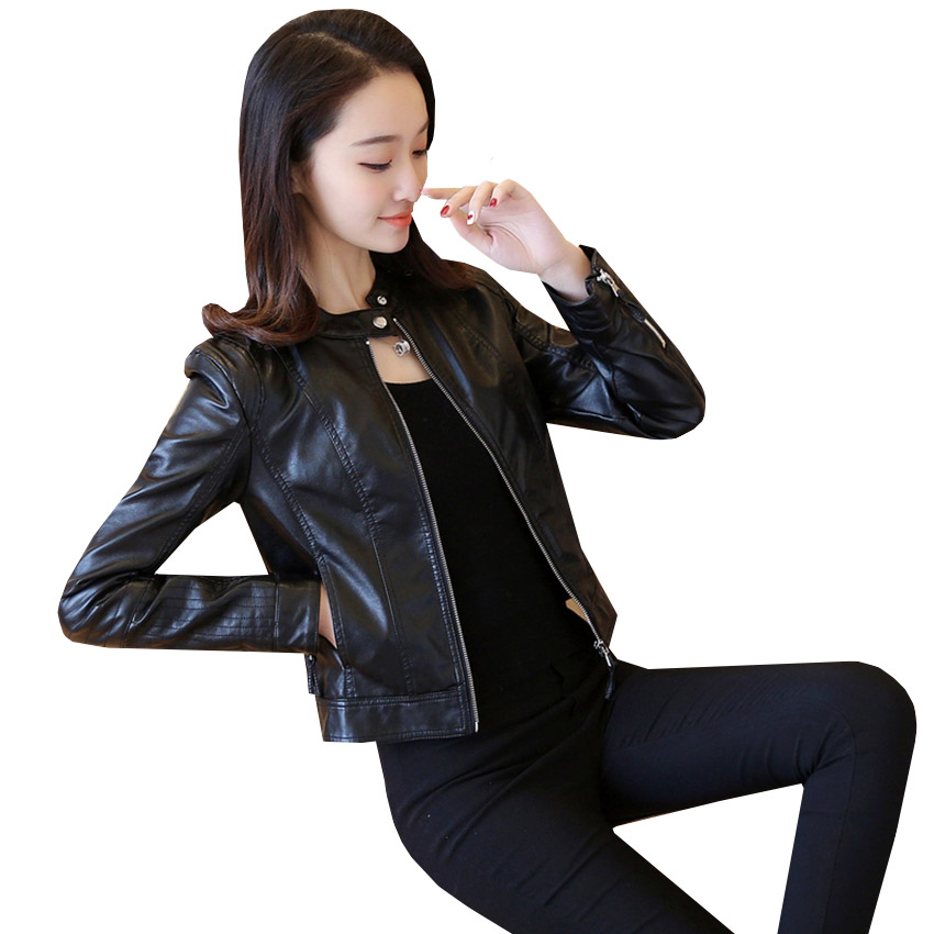 New Solid Zipper PU Leather Jacket Fashion Spring Autumn Women Leather Coat Casual Motorcycle Outwear Slim Short Coats AB452